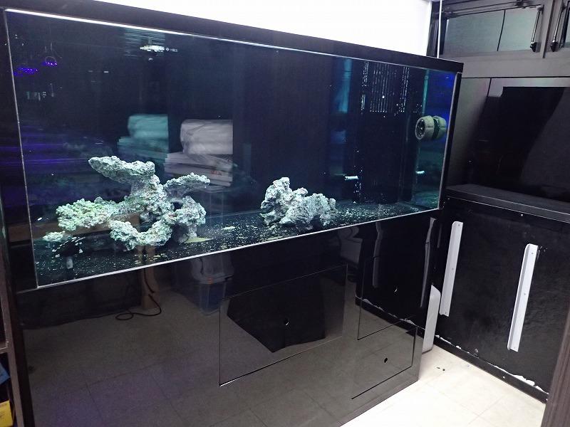 水槽セット一式 ピアノブラック 強化ガラスオーバーフロー水槽